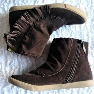 Fringed ankle boots | Brown suede | Blowfish